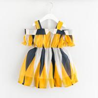 faldas amarillas estampados moda al por mayor-Chifón de las muchachas Vestidos geométricos Capucha de un solo cuello Asimétrico Contraste amarillo Color más puntos Impreso Moda Niños Falda de verano 2-8T