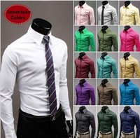 Wholesale solid colored shirts - Wholesale-The new candy-colored long-sleeved men's shirt solid color shirts gentleman shirt Turn-down Collar Men's Shirts