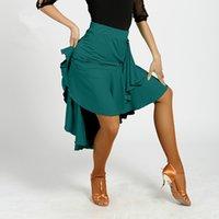 Wholesale Latin Salsa Dance Skirts - Adult New Latin Dance Dress salsa tango Cha cha Ballroom Competition Group Dance Skirt 3Color S-XL G008