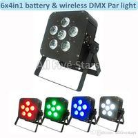 Wholesale Dmx 512 Wireless Dhl - Led Stage par lights 6x8W RGBW 4in1 Battery led flat par light   Wireless & DMX led par light uplight Club Light 4pcs lot DHL Free shipping