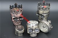 King Skull grinder spices canada - 12pcs epacket USA Canada King Skull crown Metal zinc alloy Tobacco Herb Spice Grinder Crusher Pollen Catcher Hand Muller