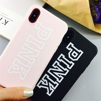 Para iphone x PINK Case Love Pink letra Lucky Impresso Slim Back Cover Empaistic Soft TPU Cases para iphonex iphone 8 7 6 6s plus 10 DHL FREE