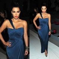 Wholesale kim kardashian plus size evening gowns - Kim Kardashian 2015 New Dark Navy Sheath One Shoulder Ruched Slit Evening Dresses Celebrity Red Carpet Dresses Sexy Prom Gowns