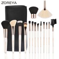 Wholesale wholesale wood box gift sets online - Zoreya Brand Latest Rose Gold Makeup Brushes Set Foundation Eye Shadow Blending Kabuki Brush with Pu Bag and Gift Box
