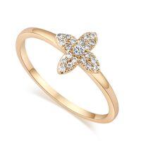 Wholesale Simple Flower Engagement Rings - Fashion Flowers selling models female Korean small ring plated 18K YLI1072 simple engagement ring for Christmas