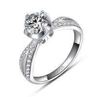 Wholesale Wholesale Silver Love Ring - Ture Love Wedding Ring,925 Sterling Silver with Luxury Austria Crytsal,3 Layer Platinum Plated,Popular Ladies Ring Jewelry OR13