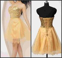 Prom Dresses brevi Oro 2016 Paillettes Tulle Lace-up Sweetheart Carino 8 graduazione abito da Cocktial abiti Night Club Wear Homecoming abito SHJ
