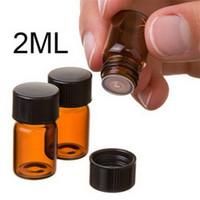kehribar şişeleri ücretsiz gönderim toptan satış-2 ML Amber Kahverengi Mini Cam Şişe, 2CC Amber Örnek Flakon, Küçük Uçucu Yağ Parfüm Şişesi Fabrika Fiyat DHL TARAFıNDAN Ücretsiz Kargo