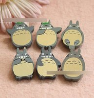 Wholesale Clips Brooches - 100pcs Cute Children's stationery ,New cute Cartoon Totoro Designs Style Wooden Pin Brooch   4 designs   Clips Children's Accessories A1791