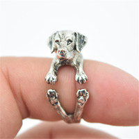 Wholesale Hippie Rings - 1 pcs Free shipping adjustable retro punk Labrador Ring free size hippie animal Labrador dog Ring jewelry for pet lovers