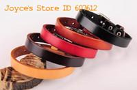 Wholesale Leather Cuff Plain Bracelets - Wholesale-Lot 5PCS G458 Wholesale Men's Women's Simply Cool Plain Single Wrap Genuine Leather Bracelet Bangle Cuff Fashion Jewrly