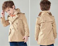 Wholesale Down Coat Europe - Europe and America Brand Kids Outerwear Fashion Handsome Turn-down Collar Trench Coats For Youth Long Sleeve Big Boys Clothing K525