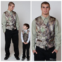 Wholesale Wedding Party Wear Suit Mens - 2018 Fashionable Camo Vest Realtree Mens Wedding Party Suits Bridal V Neck formal wear waistcoat groomsmen Outerwear