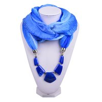 Wholesale Crochet Yarn Scarf - 2016 New Christmas Pendant Scarves Irregular Stone Beaded Charms Necklace Infinity Wraps Shawls Voile Scarf for Woman SC150175
