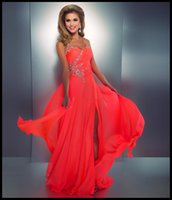 Wholesale Neon Pink Evening Dress - Emmani Coral Colored Prom Dresses Crystal Embellished Halter Slit Chiffon Bright Hot Pink Evening Gowns Sexy Low Back Neon Coral Gown