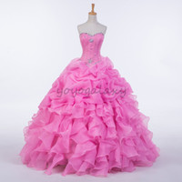 Wholesale Candy Corset - Candy Pink Quinceanera Dresses Beading Strapless Ruffled Ball Gown Dresses For 15 Years Long Prom Dress Corset Cheap Vestidos de fiesta