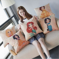 Wholesale Princess Chair Covers - 45cm*45cm Cartoon Snow White Princess Cotton Linen Cushion Cover Sofa Decorative Throw Pillow Covers Home Chair Car Seat Pillow Case Soft