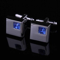 Wholesale Mens Crystal Cufflinks - 2016 fashion blue crystal cufflinks for mens shirt cufflinks hot wedding cufflinks gift with 3 colors for choosing W133