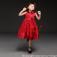 Wholesale Top Designer Baby Girl Clothes - Pettigirl 2016 Designer Flower Girl Dresses Gowns Top Grade Red Party Princess Baby Dress For Wholesale Kids Clothing GD40918-18