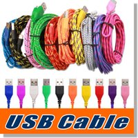 Wholesale Galaxy Cords - Nylon Braided Usb 2.0 Fabric Micro USB Data Cable Cord Micro to USB Sync Charge Cable Cord for Android Samsung Galaxy S6 S7 edge