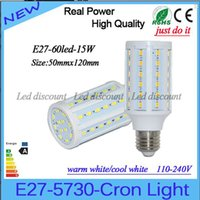 Wholesale E26 Led Light Corn - 15W 60led SMD Led Bulbs Light Corn Lamp E27 E26 E14 B22 Led Lights Warm Cool White AC 85-265V + 2 Years Warranty