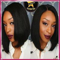Wholesale Swiss Lace Make Wigs - Bob Full Lace Human Hair Wig Peruvian Virgin Hair Short Bob Wigs For Black Women Swiss Lace full lace Human Hair Wigs