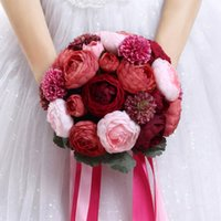 Wholesale Korean Bridal Bouquets - Cheapest Bridal Bouquet Burgundy Peony Korean Brides Hand Red Bride Bouquet Home Decoration Free Shipping In Stock Wedding Accessories ZYY