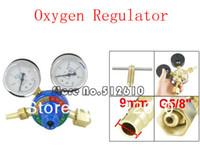 Wholesale Pressure Gauge Oxygen - Wholesale-Air 2 Gauges Cutting Welding Pressure Oxygen Regulator Blue Gold Tone