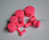 Wholesale Acrylic Flare Plugs - New Arrival Neon Pink Double Flare Ear Plug Saddle Flesh Tunnel Taper Stretching UV Acrylic 3-20mm Ear Piercing Jewelry Expan