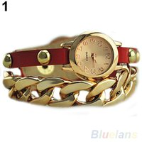 Wholesale Golden Chain Watches - Women's Punk Golden Dial Faux Leather Chain Analog Quartz Bracelet Wrist Watch Watches 097O