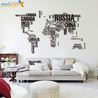 Wholesale World Map Wall Art Decals - creative letters world map wall stikers home decorations office living room zooyoo95ab adesivo de parede pvc decals mural art
