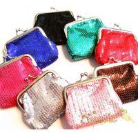 Wholesale Bright Blue Handbag - Wholesale-bright girls Women Wallet sequins Change Purse key coins bag Handbag Pouch Retro Simple Girls Case Classic Canvas