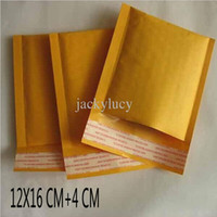 Wholesale Envelope Wrap - 4.7*6.3 inch 12*16cm+4cm Kraft Bubble Mailers Envelopes Wrap Bags Padded Envelope Mail Packing Pouch Free Shipping