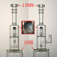 "Wholesale Geared Head - High quality factory price glass bong 13.7""in. two lavers two gear perc with shower head perc 14.5mm female joint"