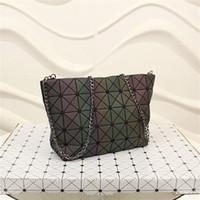 Wholesale Large Shoulder Strap Bags - Geometric lattice folding chain bag luminous color large leather shoulder handbags tote bag purse with shoulder strap
