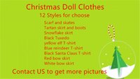 Wholesale Doll Clothes Skirt - DHL UPS Fedex TNT Plush Doll Clothes 12 Styles Tuxedo suit scarf & skates 40pcs doll clothing setl skirts & boots clothes Free shipping