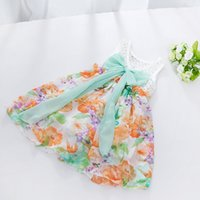 Wholesale bow brace - Kids Baby Girls Summer Chiffon Hollow Out Floral Flower Braces Two-way Dresses Kids Sleeve Less Dress