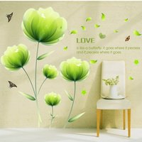 Wholesale Wall Decals For Tv Room - Green Flower Butterflies Fluttering Wall Sticker Bedroom Sofa TV Backdrop Home Decorative Painting Wall Decor Stickers