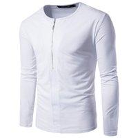 paçavra gömleği toptan satış-Sonbahar Bahar Basit Stil erkek Siyah Beyaz T gömlek Yüksek elastik Pamuk T-Shirt erkek Uzun Kollu Fermuar Placket Sıkı T Gömlek Homme