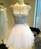 Wholesale Sexy Hunter Costumes - 2015 Luxury Short Party Dresses Graduation Dresses Sheer Scoop Neck Cap Sleeve Mini Length Tulle Beaded Homecoming Gowns halloween costumes