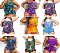 Wholesale Snake Swimwear - Aztec Tiger Snake Plus Size High Waist printed Bikini Chubby Women Sexy Fringe Tassel Swimsuit Push Up Padded Bra+briefs Swimwear Bath suit