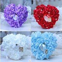 Wholesale Wedding Favor Boxes Purple Heart - 2015 6 Colors Wedding Ring Pillow With Peal Transprent Ring Box Heart Design Special Unique Ring Pillow Decorations Favor