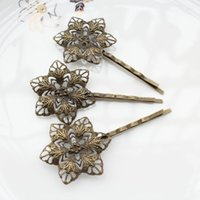 Wholesale Hair Accessory Sunflower Clip - 100pcs big Antique Bronze Filigree Flower Bobby Pins, Hair Flower clips, Hair Accessories sunflower hair clips