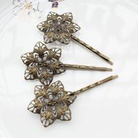 Wholesale Bronze Bobby Pin - 100pcs big Antique Bronze Filigree Flower Bobby Pins, Hair Flower clips, Hair Accessories sunflower hair clips