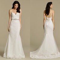 Wholesale Tara Keely Bridal Gowns - Sexy 2016 Tara Keely Lace And Tulle Sweetheart Mermaid Wedding Dresses Sexy Backless Beaded Sash Sweep Train Bridal Gowns EN11612
