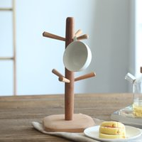 Wholesale Wooden Cup Rack - 6 Hooks Dehydrated dried Mug Holder Storage Tree Wooden Coffee Cup Racks Hanging Kitchen Accessories Bottle Stand