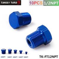 "Wholesale Oil Cooler Npt - Tansky - 1 2""NPT Aluminum Hex Head Male Port Plug Block Off Fitting Adapter Blue TK-FT12NPT"