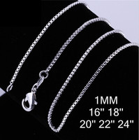 Wholesale Vintage Silver Box Chain - 2016 hot 925 silver Box chain vintage necklace hot sale 1MM 16-24 inch bulk 30pcs lot