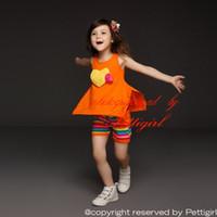 camisas naranjas para niñas al por mayor-Pettigirl más nuevo conjunto de ropa de las muchachas de moda de verano naranja camiseta y pantalones cortos a rayas establece 2 piezas para niños trajes de niños traje CS30301-19