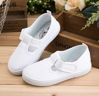 Wholesale Cool Shoes For Girls - Casual Canvas Solid White Color Cool High Top Children Shoes For Boy Girl Kids Sneakers Size 22-40
